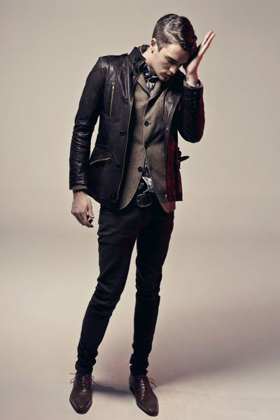 Layer a leather jacket over a blazer.