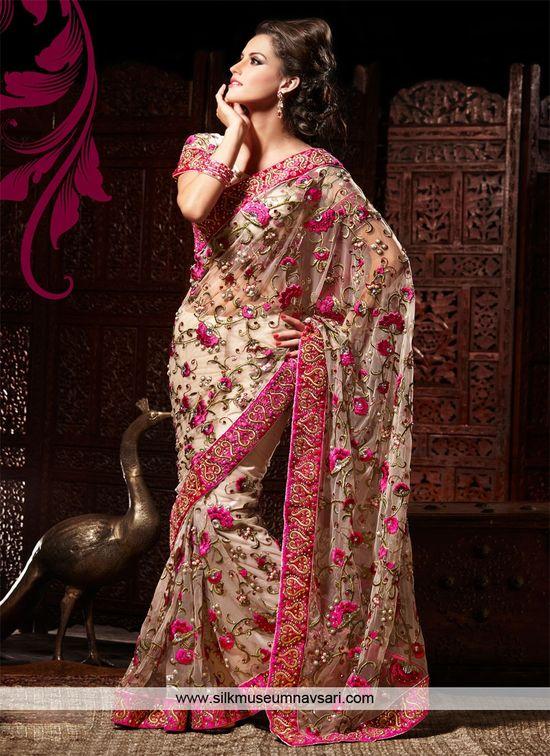 Dazzling Beige Net Resham Work Designer Saree