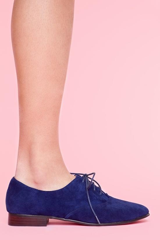 Blue suede Oxford shoes
