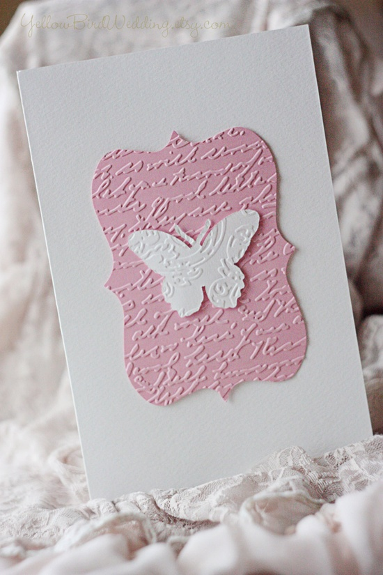 Butterfly handmade invitation pink and by YellowBirdWedding
