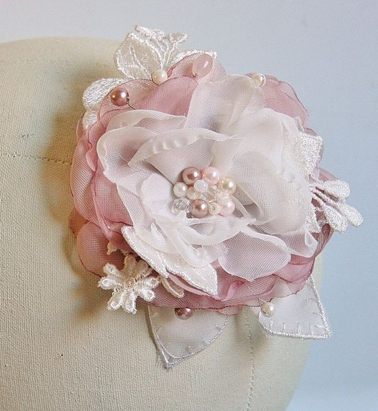 Wedding Hair Flower Blush Pink Wedding Pearl Hair by FancieStrands