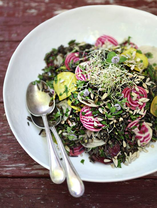 Sprouted wild rice + beet salad