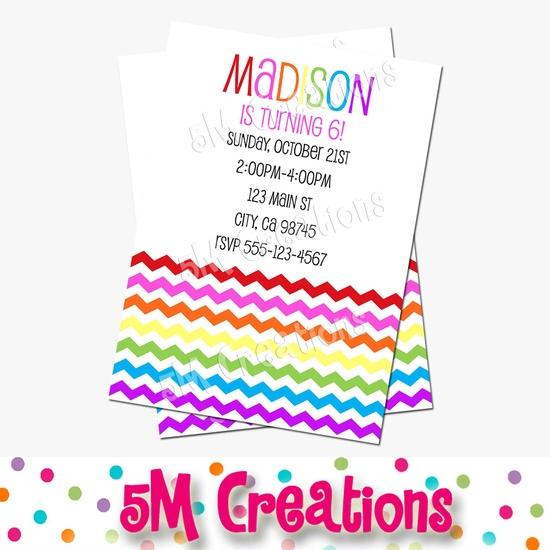 RAINBOW Chevron Birthday Party Printable Invitation - ART Party Invitation - Printable Party Invite - Rainbow Party Collection. $10.00, via Etsy.