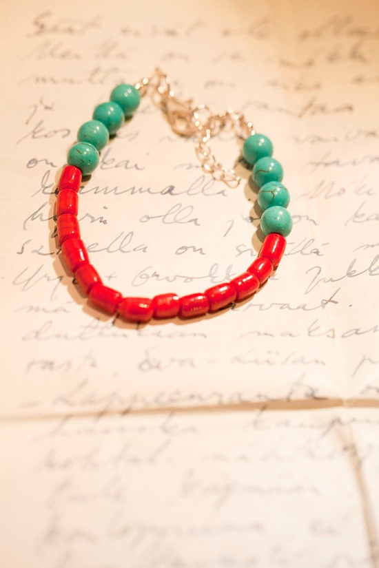 Turquoise & Red Bracelet