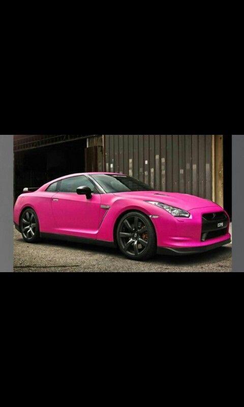 Hot pink Nissan sports car