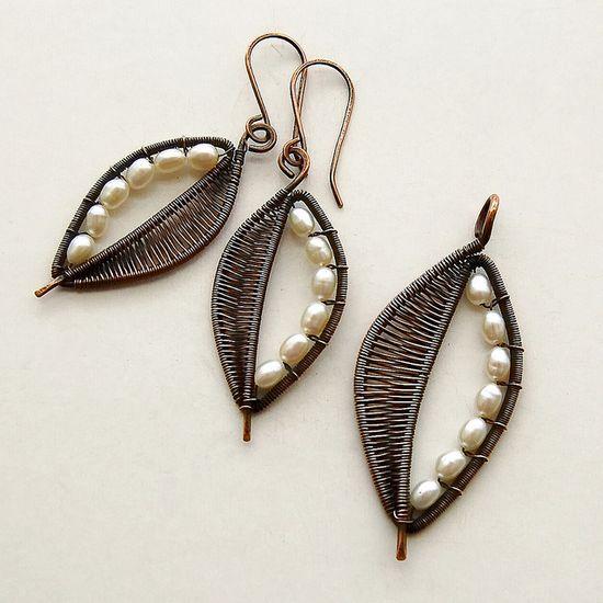 =) pretty pearl leaf wirework earrings