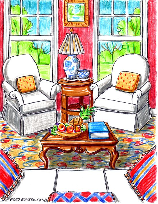 Furniture arrangements - same room, 12 different ones