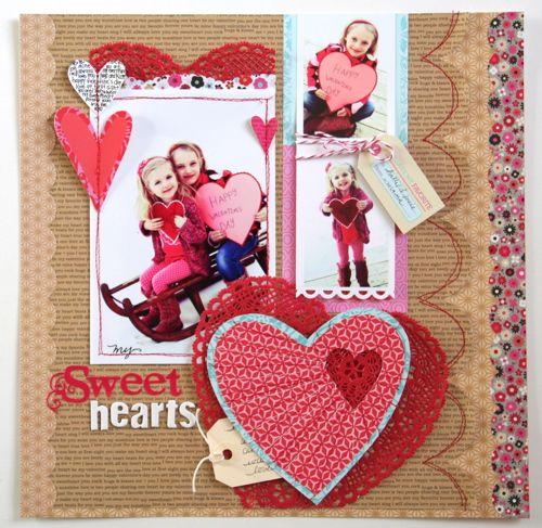 "Cute ""Sweet Hearts"" Scrapping Page...Fancy Pants - Scrapbook.com."