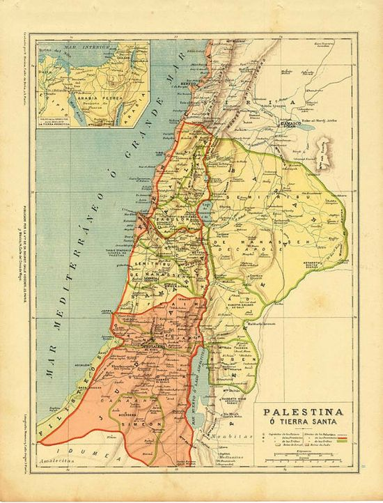 Antique Map Palestine Holy Land 1899 by CarambasVintage on Etsy