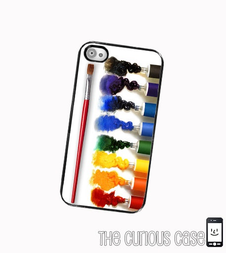 iPhone Case Oil Paint Set and Brush/ Hard Case For iPhone 4 and iPhone 4S Artist Paint Set. .
