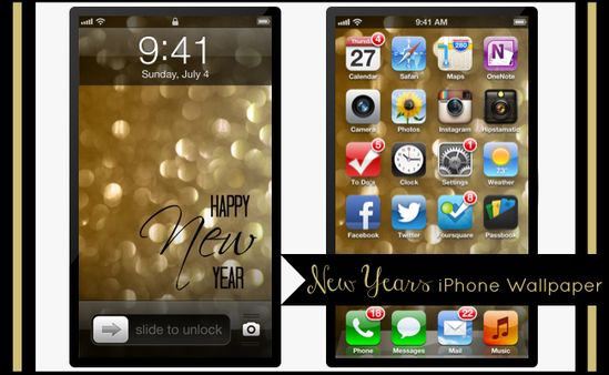 Positively LOVE this!  Happy New Year iPhone 4 and 5 Wallpaper at @anightowlblog
