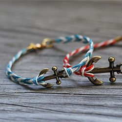 Make a fishtail braided anchor bracelet. Super simple to make!