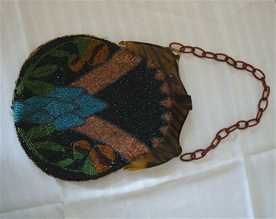 1920s Antique Art Deco Beaded Evening Bag with Tortoiseshell Frame