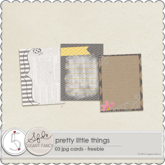 Pretty Little Things journal cards freebie from Sugar Fancy Designs #scrapbook #digiscrap #scrapbooking #digifree #scrap