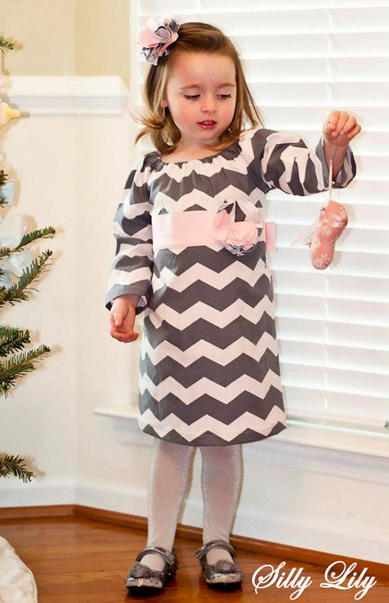 Baby Toddler Girl Gray And Pink Chevron Peasant by selenametts, $30.00