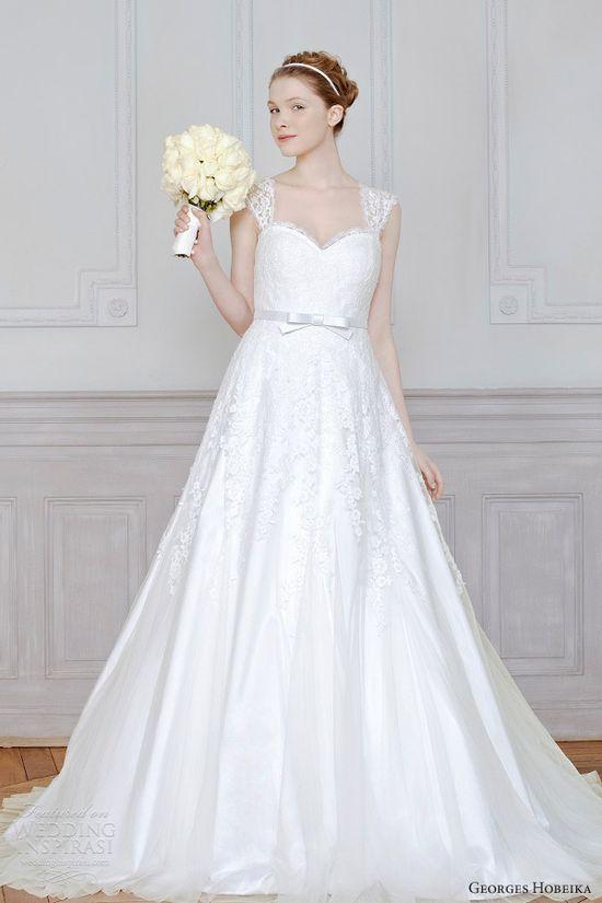 georges hobeika bridal 2013 wedding dress lace cap sleeves straps