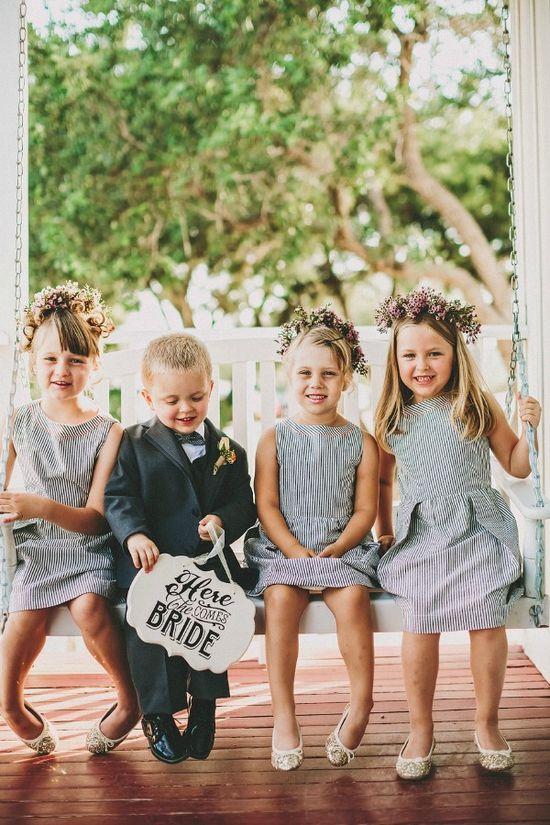 stripe flower girl dresses and one cute ring bearer