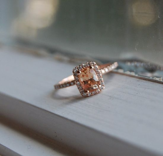 129ct Cushion Peach sapphire in 14k rose gold by EidelPrecious, $1400.00