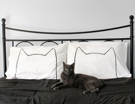 Cat Nap Pillow case Set : 300TC Standard - animal home decor, bedding, gift for couples, seen on Design Sponge and DailyCandy, animal pillow