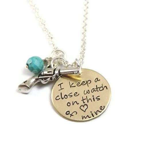 Johnny Cash - I Keep A Close Watch On This Heart Of Mine Necklace - Hand Stamped Brass Tag. $29.99, via Etsy.