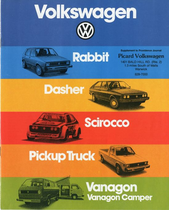 Volkswagen Sales Brochure (1979) Rabbit Dasher Scirocco Pick Up Truck Vanagon
