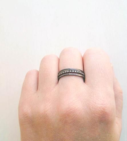 oxidized silver stacking rings.