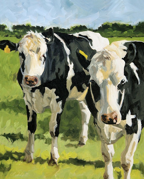 Cow painting giclee on canvas print with gallery by FinnellFineArt