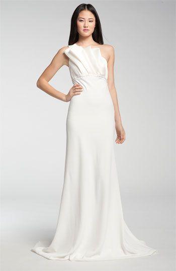Wedding: Dress Ideas  * Carmen Marc Valvo One Shoulder Origami Detail Gown