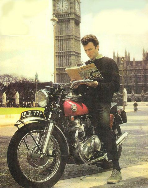 Looks like a Triumph and Clint Eastwood.. cool