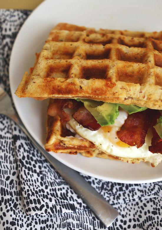 Cheddar waffle breakfast sandwich from ABM