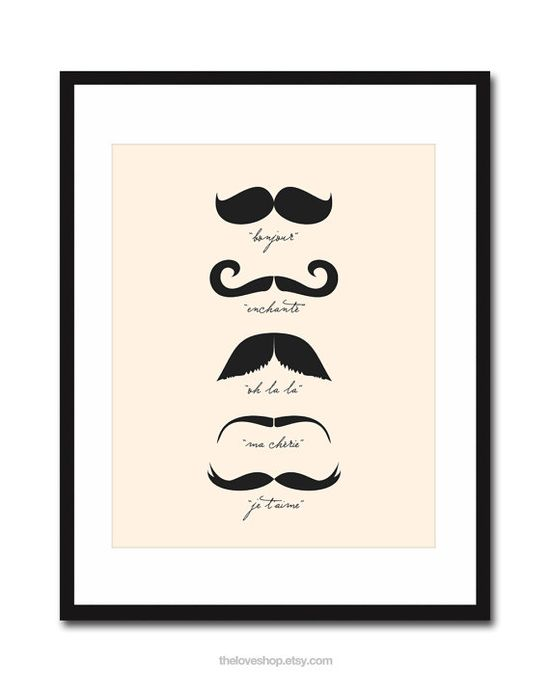 Monsieur Moustache  French 8x10 inch