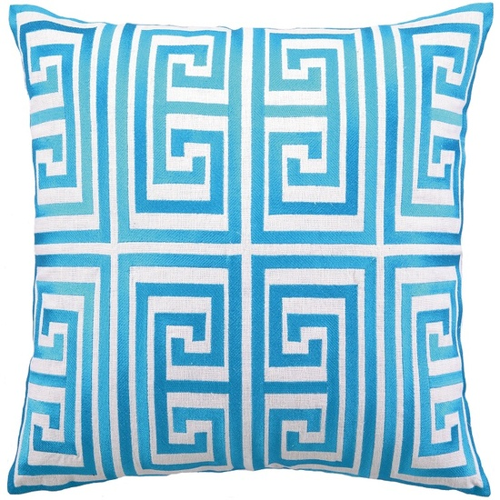 Turquoise Blue Greek Key Embroidery Fashion Pillow Courtesy of InStyle-Decor.com Beverly Hills Inspiring & supporting Hollywood interior design professionals and fans, sharing beautiful luxe home decor inspirations, trending 1st in Hollywood Repin, Share & Enjoy