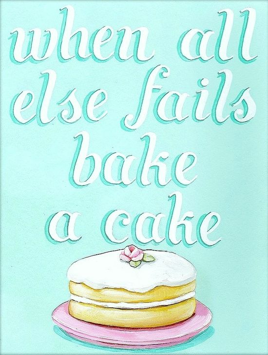 """""""when all else fails bake a cake"""" matted ready to frame print by Everyday is a Holiday #aqua #kitchen #art #retro #vintage      #cute #cake"""