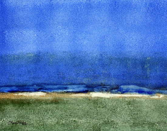 """Blue Horizon"" abstract painting"