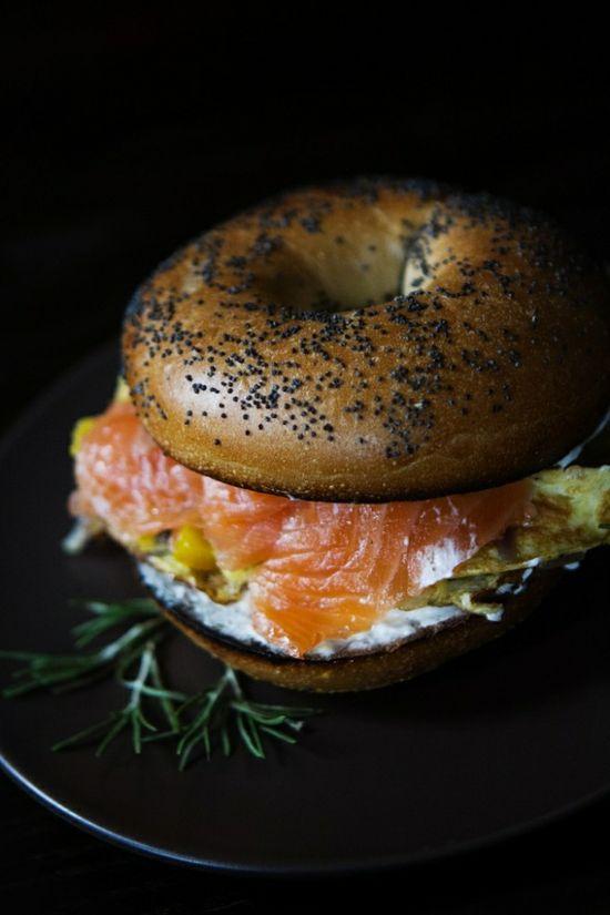 Smoked Salmon and Egg Breakfast Sandwich