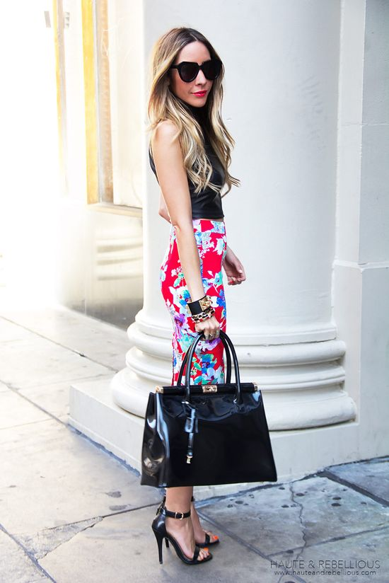Modern Tropical  #Leather #Tanks #Floral #Skirts #Totes
