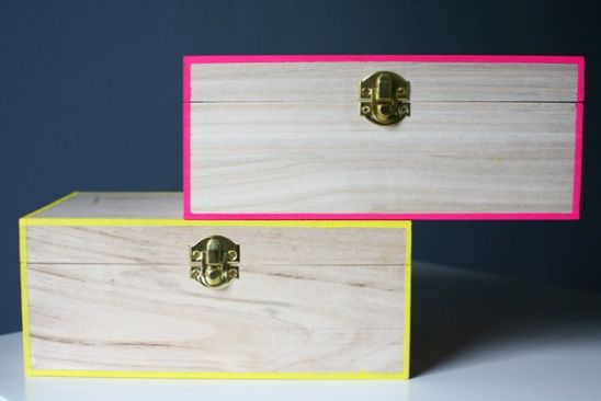 Neon Edged Storage Box by Erica // Caught On A Whim