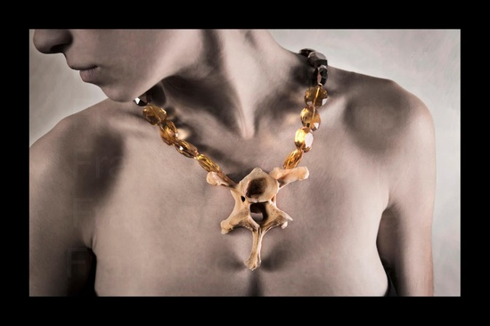 "Francesca Gabrielli  ""Noli Me Tangere""  necklace 04  synthetic stones and bone  Photos QuidCreative"