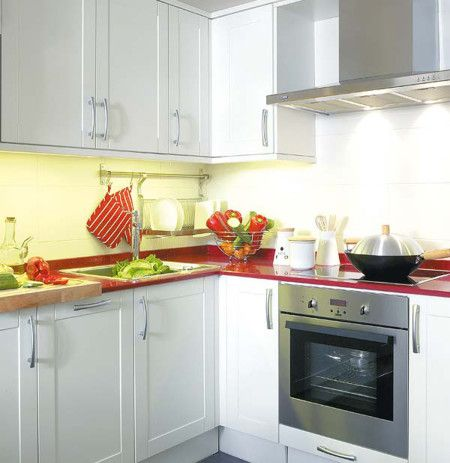 White Colours Small Kitchen Interior Design Ideas - Kitchen