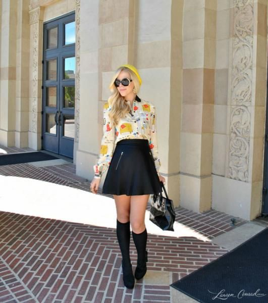 cute faux-leather skirt and summery top transition into fall perfectly