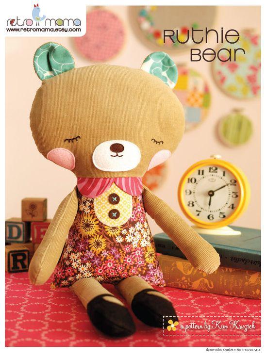 Bear Sewing Pattern - PDF Sewing Pattern Ruthie Bear - Stuffed Animal Pattern - Bear Doll. $10.00, via Etsy.