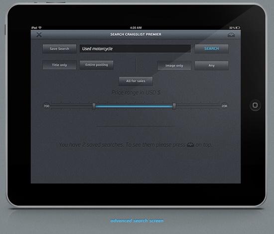 Craigslist Premium iPad UI design on the Behance Network