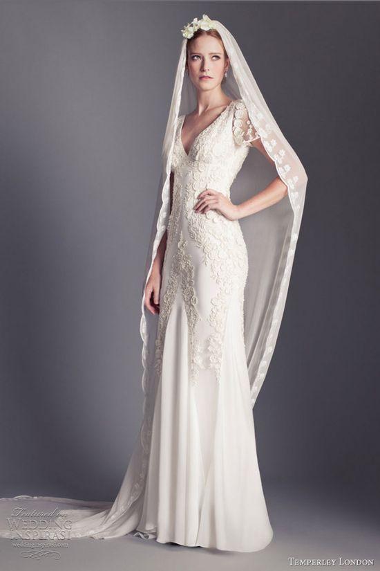 temperley london bridal 2013 daisy v neck short sleeve wedding dress