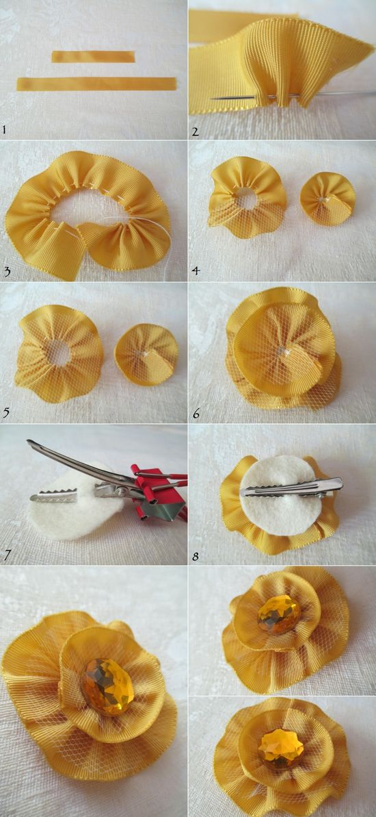 DIY Tutorial: How to make a ribbon flower hair clip