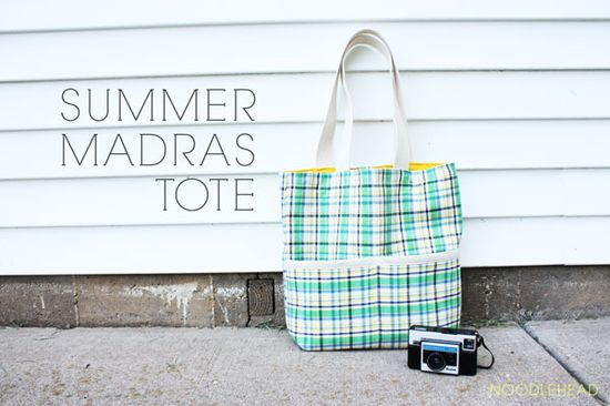 Madras tote - made from 1/2 yard cuts.