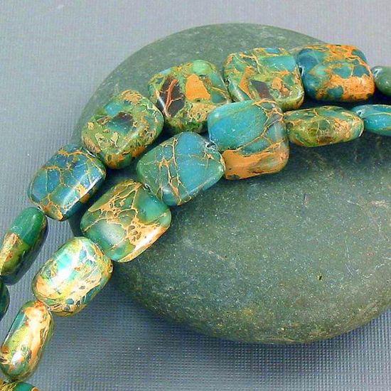 Gemstone beads aqua terra jasper squares 12mm by allthingsbeaded, $13.50
