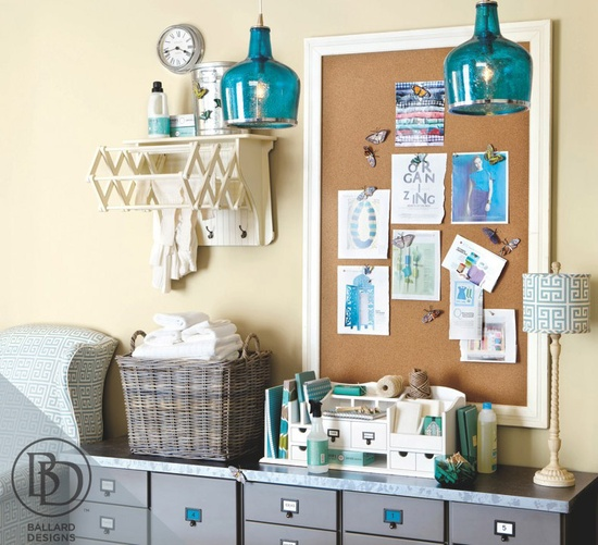 Beautify your home office with Ballard Designs/ Love the aqua blue pendant lights and cute file cabinet