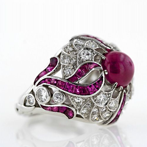 Art Deco Cabochon Ruby Ring