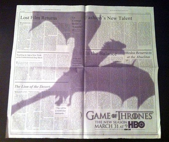 Game of Thrones Proves Print Ads Aren't Dead (and Neither Are Dragons)