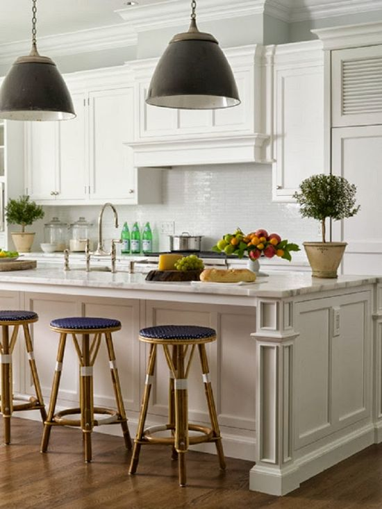 Cabinetry, floors, stools